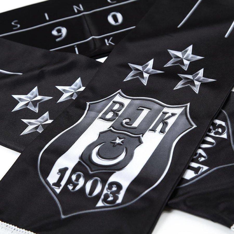 Beşiktaş Echarpe Satin Logo 3 étoiles argent