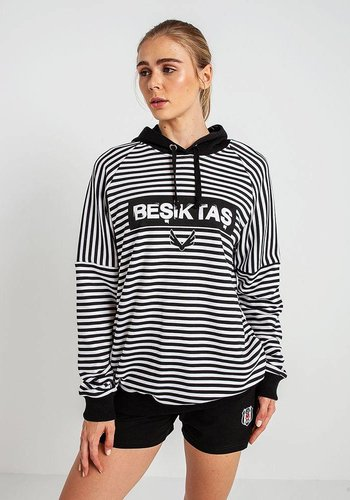 Beşiktaş Womens Striped Hooded Sweater 8819229