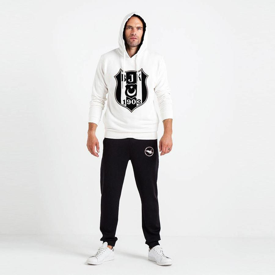 Beşiktaş 3D Flock Logo Hooded Sweater Heren 7819212 Beige