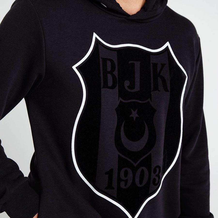 Beşiktaş 3D Flock Logo Hooded Sweater Heren 7819212 Zwart