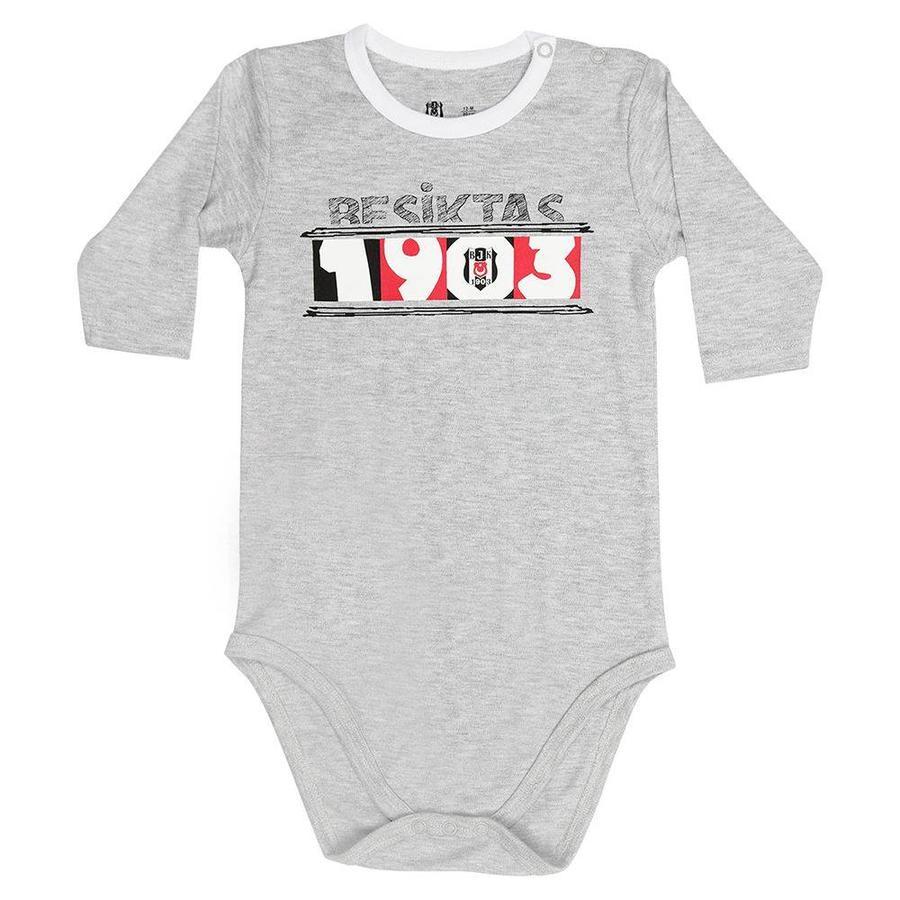 Beşiktaş Baby Langarmbody K18-107 Grau-Melange