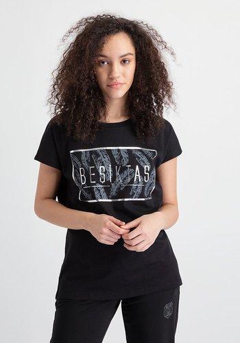 Beşiktaş Womens Feather Print T-Shirt 8919148 Black