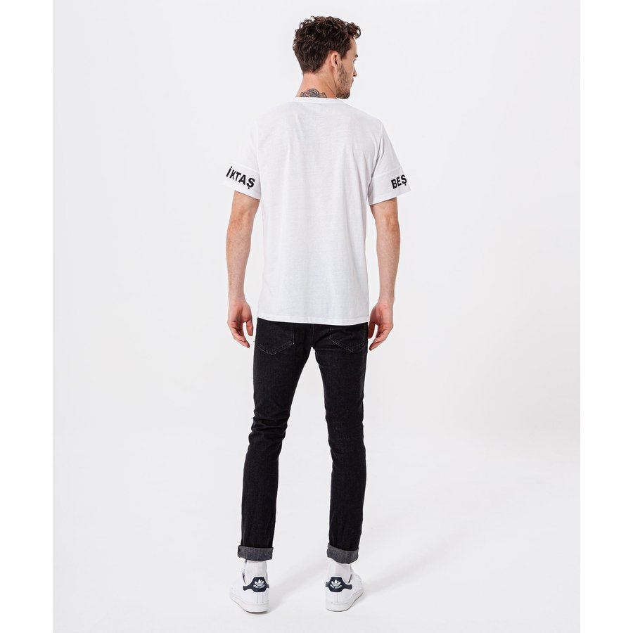Beşiktaş Sleeve Print T-Shirt Heren 7920109 Wit