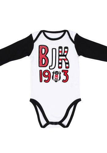 Beşiktaş Baby Langarmbody K19-107 Weiss-Schwarz