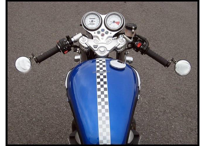Bar End Spiegels : Motorrad lenker bar end spiegel blau brille seite rückansicht