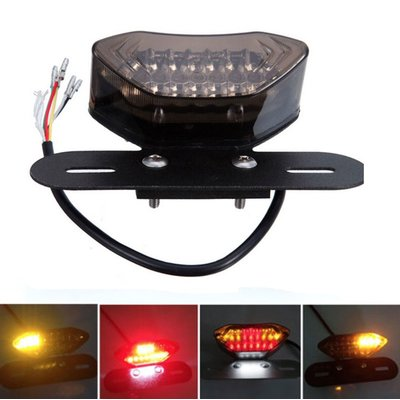 LED Tail light with Integrated Indicators & Plate Holder SMOKE