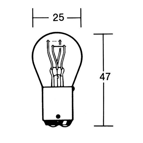 P21/5W Bulb 12V 21/5W BAY15D, Heavy Duty