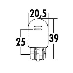W21/5W, Glassockel-Glühlampe 12V 21/5W W3x16Q