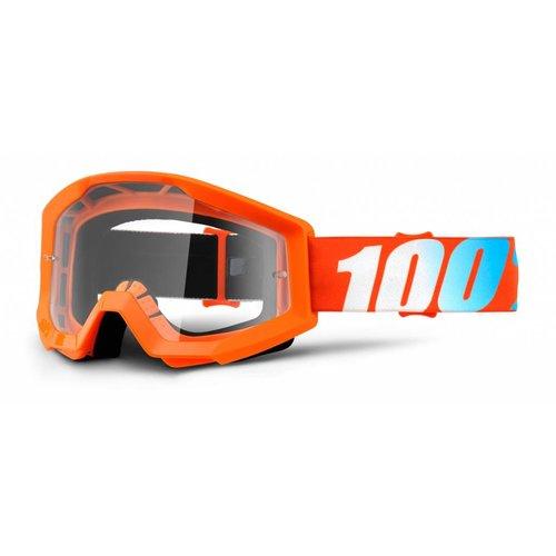 100% Goggle Strata Solid Orange Anti-Fog Clear Lens