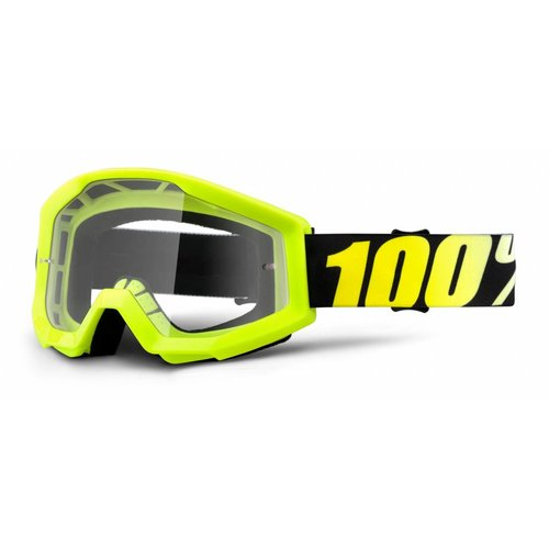 100% Goggle Strata Solid Yellow Anti-Fog Clear Lens