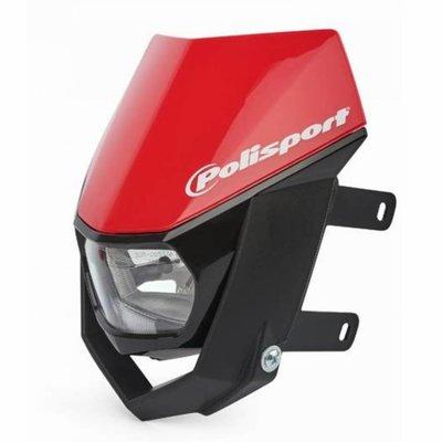 Polisport Halo Frontscheinwerfer - E-zertifiziert - Schwarz / Rot
