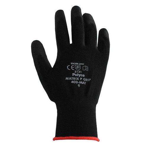 PU FLEX Nylon Working Gloves - Black Size 9 (L)