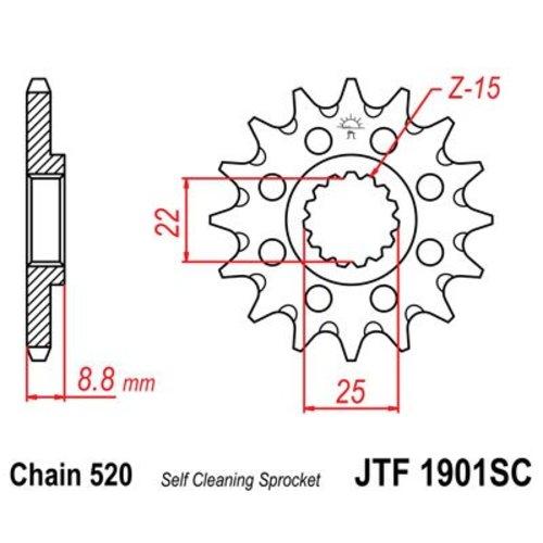 JT Voortandwiel Staal Anti-modder  KTM SX/SX-F
