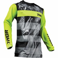 PULSE SAVAGE BIG CAT S9 OFFROAD JERSEY ZWART / LIME 2019