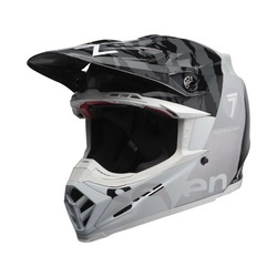 Moto-9 Flexhelm Seven Zone Gloss Zwart / Wit / Chrome