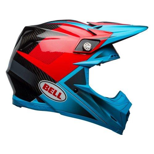 Bell Moto-9 Flex Gloss / Matte Cyan / Red Hound