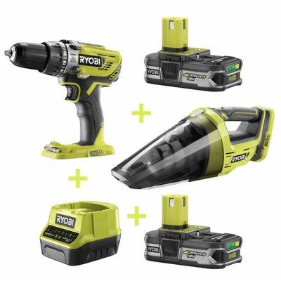 Ryobi ONE + Combo-Kit: Schlagbohrmaschine + Hand Vacuum + 2x 1,3 Ah 18V-Batterie + Ladegerät