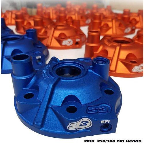 S3 Parts Head Cylinder Head & Inserts Kit Aluminium Blue Husaberg/Husqvarna 250 09-16