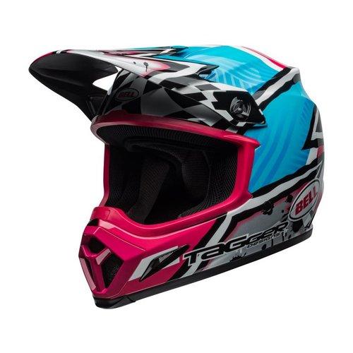 Bell MX-9 MIPS Helmet Tagger Asymmetric Hoogglans Blauw/Roze