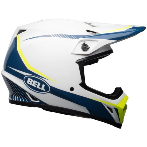 Bell X-9 MIPS-helm Glanzend Wit / Blauw / Fakkel Geel