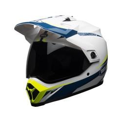 MX-9 Adventure MIPS Helmglanz Weiß / Blau / Gelb Taschenlampe
