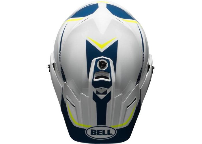 Bell MX-9 Adventure MIPS-helm Glanzend Wit / Blauw / Fakkel Geel