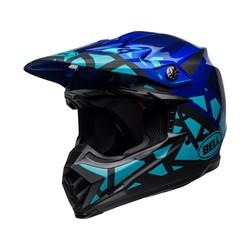 Moto-9 MIPS Helm Tremor Mat / Glanzend Blauw / Zwart