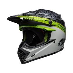 Moto-9 MIPS Helm Chief Mat / Glanzend Zwart / Wit / Groen