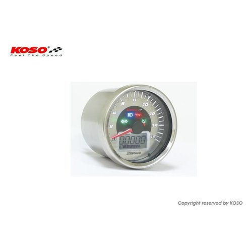 KOSO Snelheidsmeter D64 Chrome Style + Telltales (max. 260 km / u)
