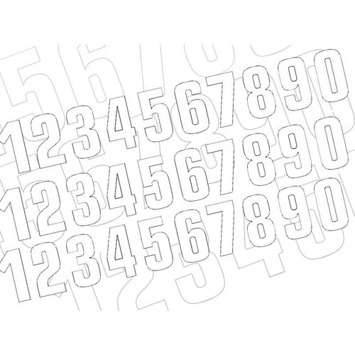 Blackbird Start number White 160X75MM set of 3 (choose your number)