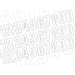 Startnummer Weiss 130X70MM satz of 3 (wählen Sie Ihre Nummer)