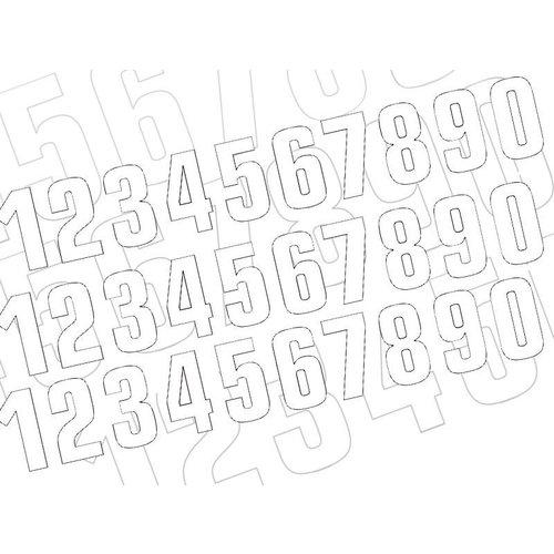 Blackbird Startnummer Weiss 130X70MM satz of 3 (wählen Sie Ihre Nummer)