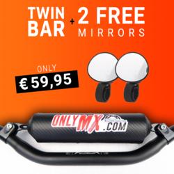 """Aluminium Twinbar """"OnlyMX"""" Schwarz +2 Supermoto-Spiegel"""