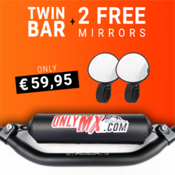 "Aluminium Twinbar ""OnlyMX"" Zwart + 2 Supermotard spiegels"