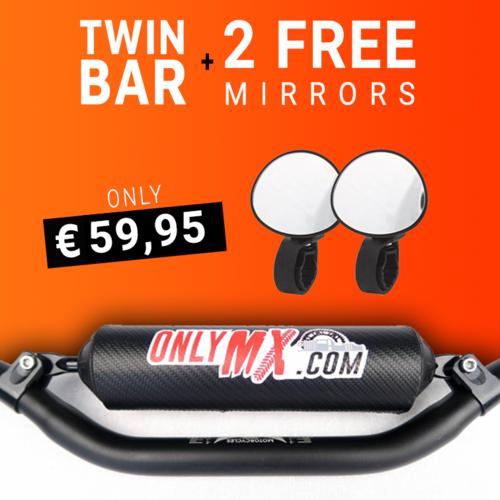 "MCU Aluminium Twinbar ""OnlyMX"" Schwarz +2 Supermoto-Spiegel"