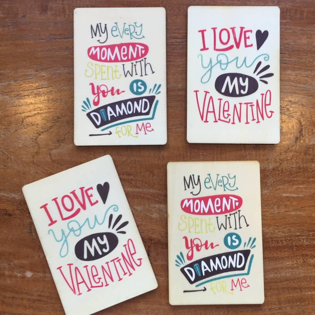 Houten kaartje Valentine I love you my valentine