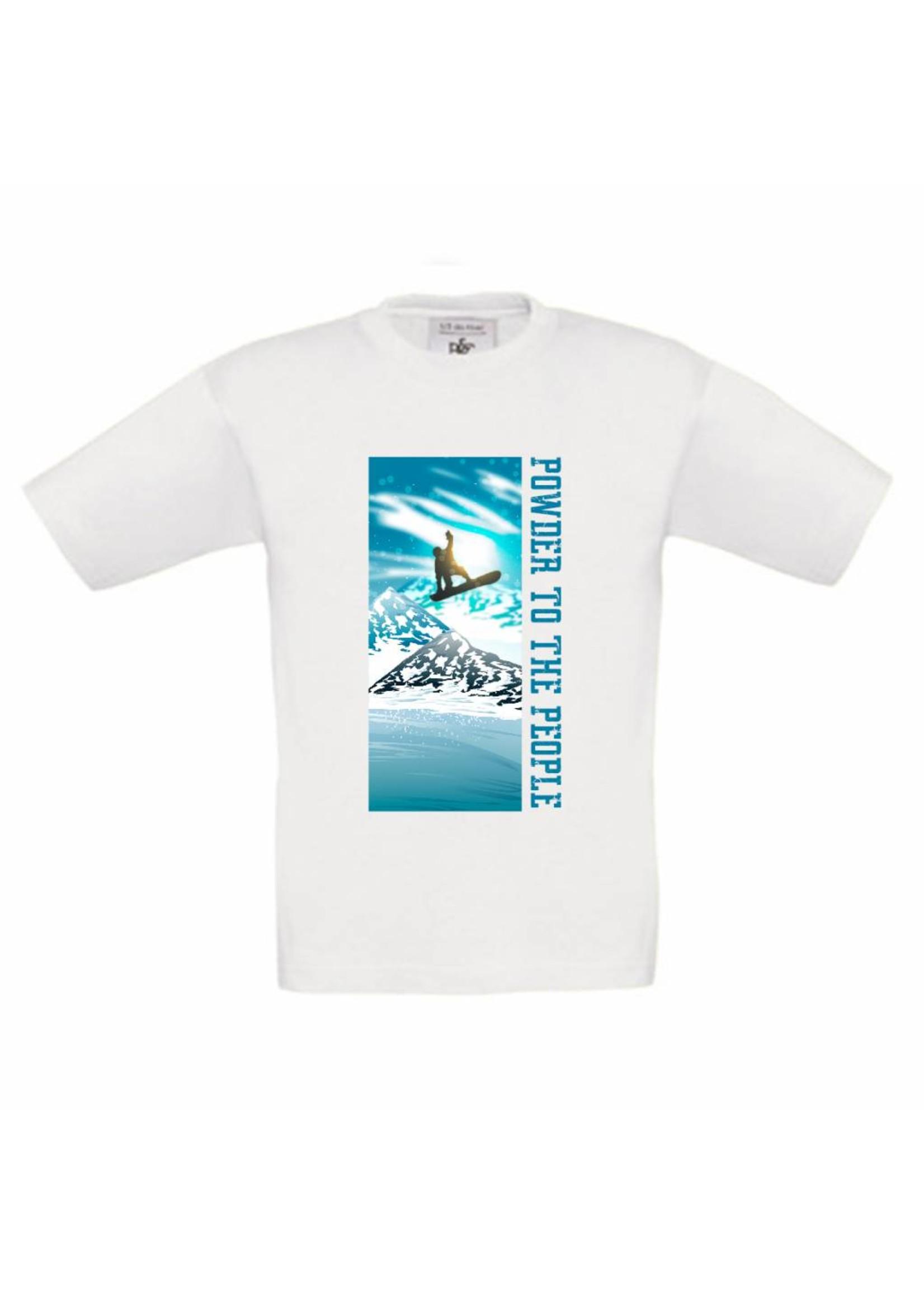 T-shirt Snowboard - Powder to the people of je eigen tekst