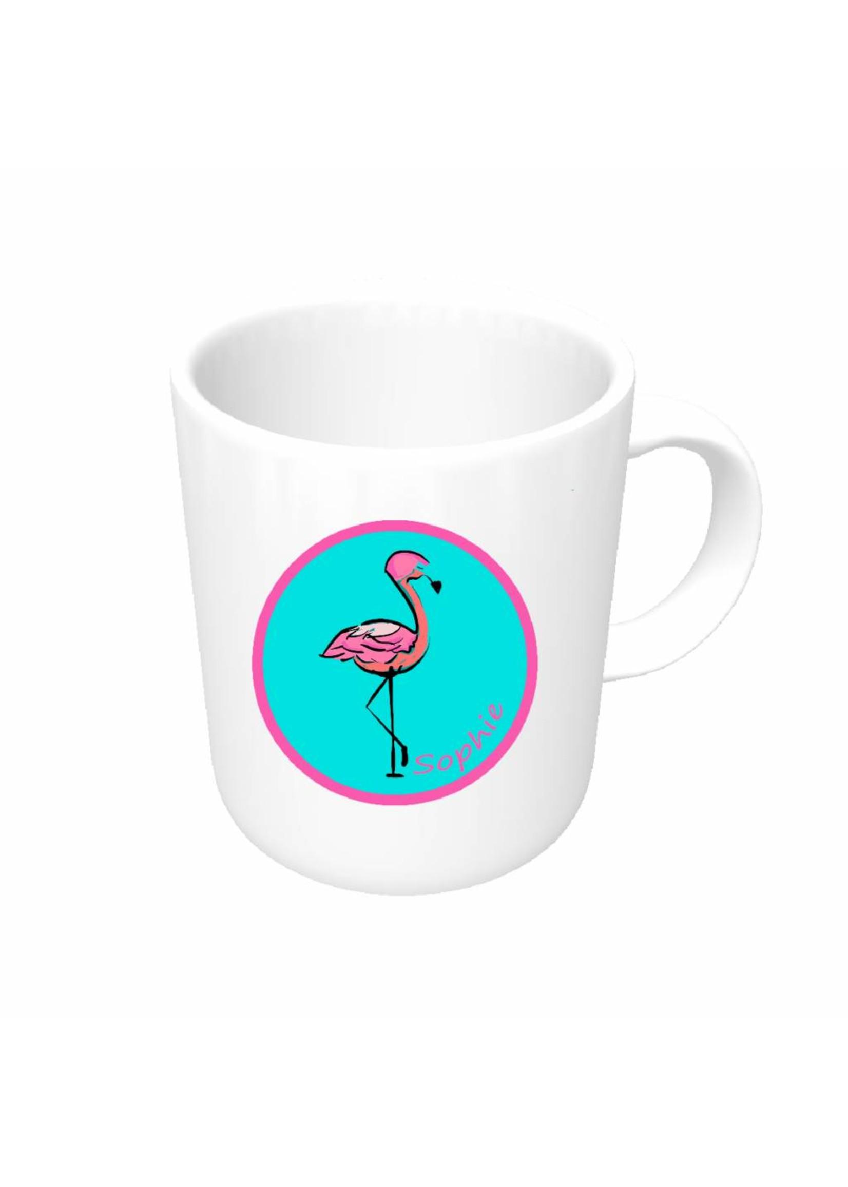 Mok flamingo met naam