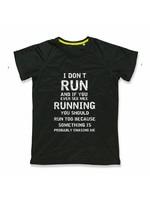 Sport shirt quick&dry - I don't run - zwart