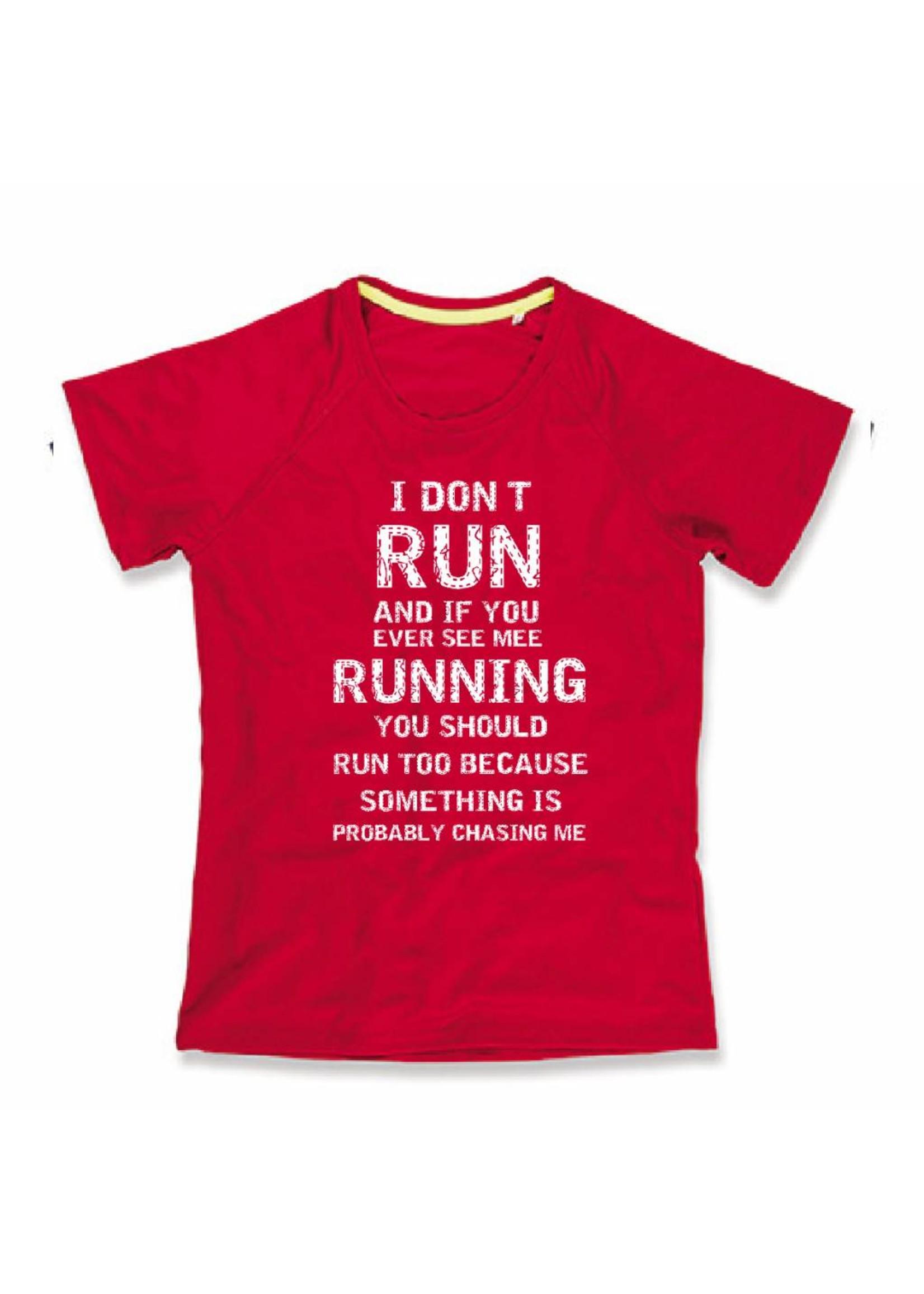 Sport shirt quick&dry - I don't run - koraal rood