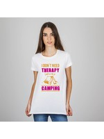 T-shirt I don't need therapy I need to go camping - tent - wit