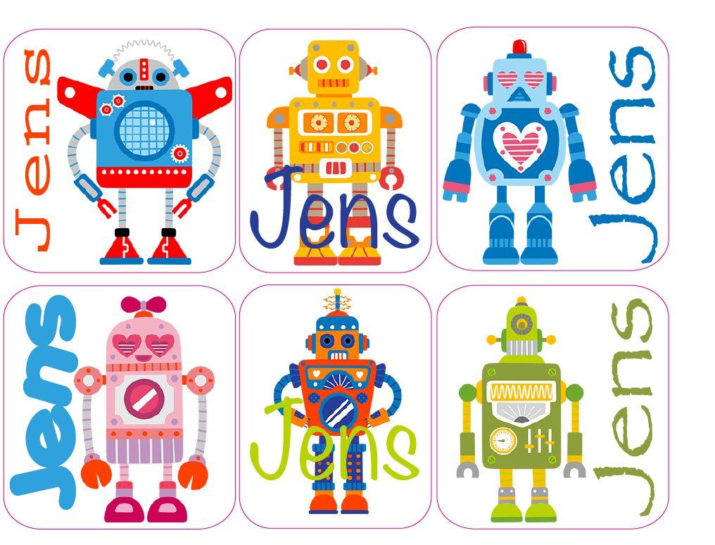 Naam stickers Robot 144 stuks