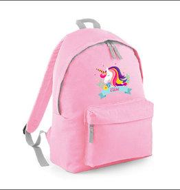 Rugzak unicorn met naam - lichtroze