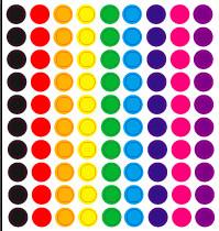 100 stickertjes in cirkelvorm in verschillende kleuren