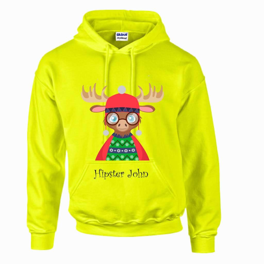 Hipster rendier hoodie met naam