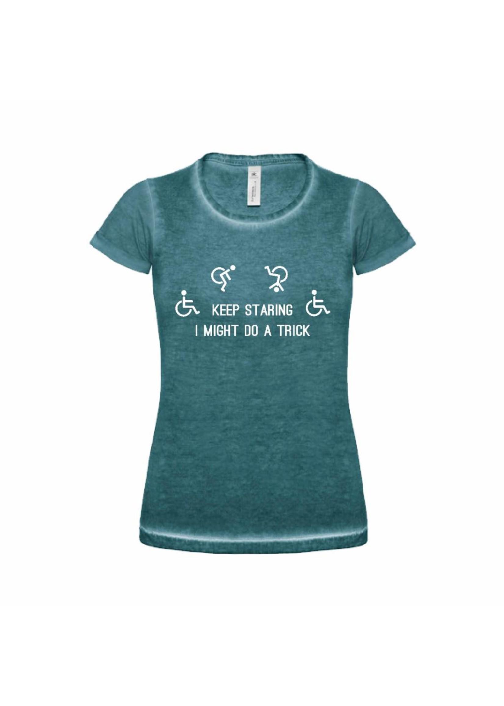 Keep staring rolstoel t-shirt - groen