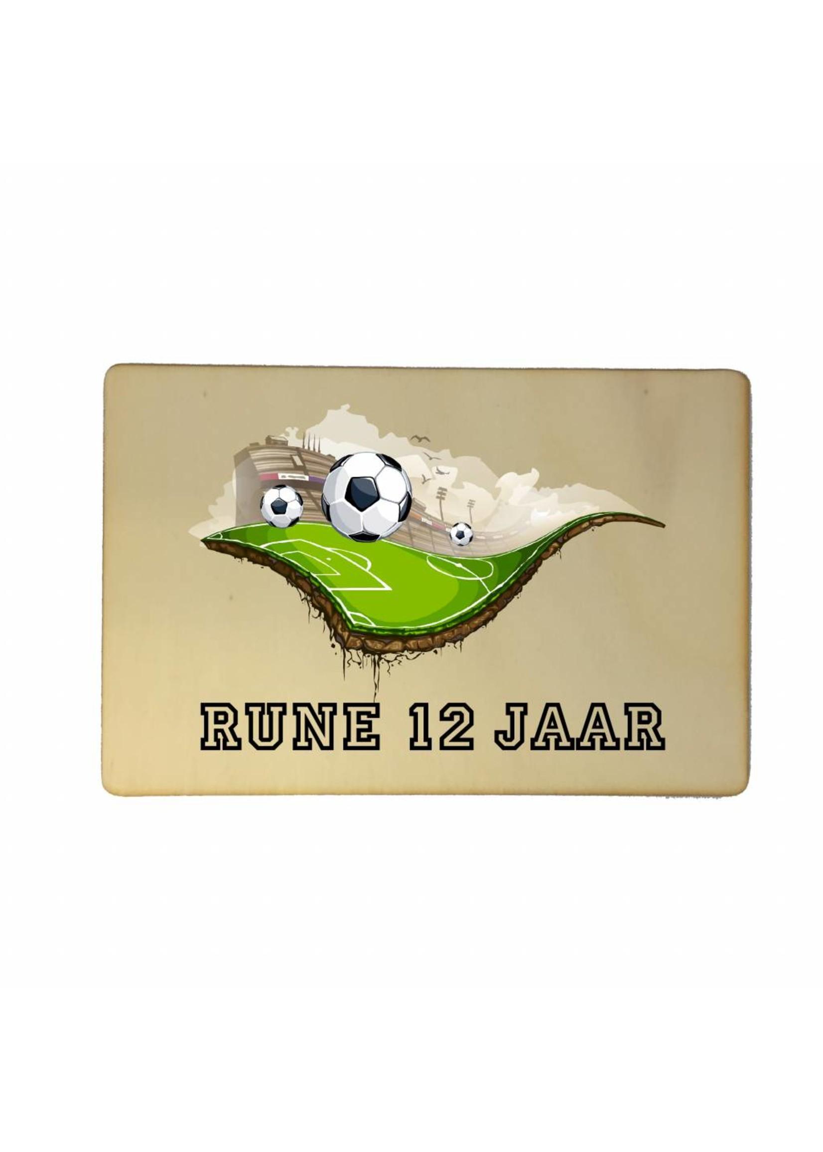 Houten kaartje voetbal met naam