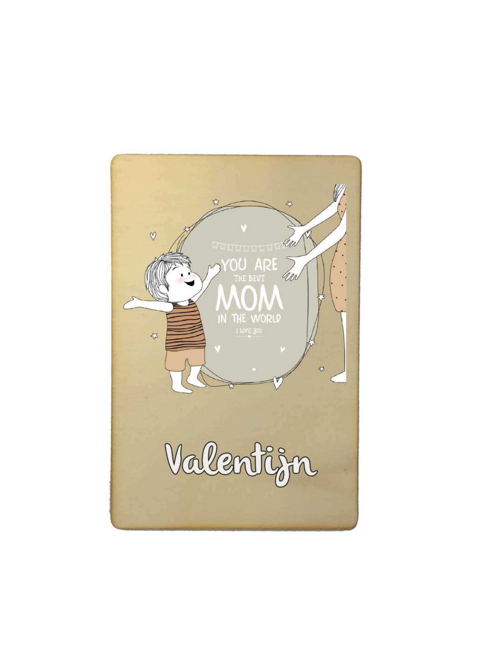 Houten kaartje voor de liefste moeder met naam