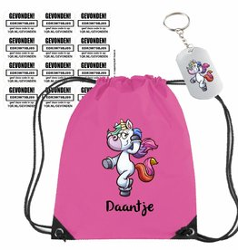Unicorn gymtas met Stuff-Finder sleutelhanger en stickers