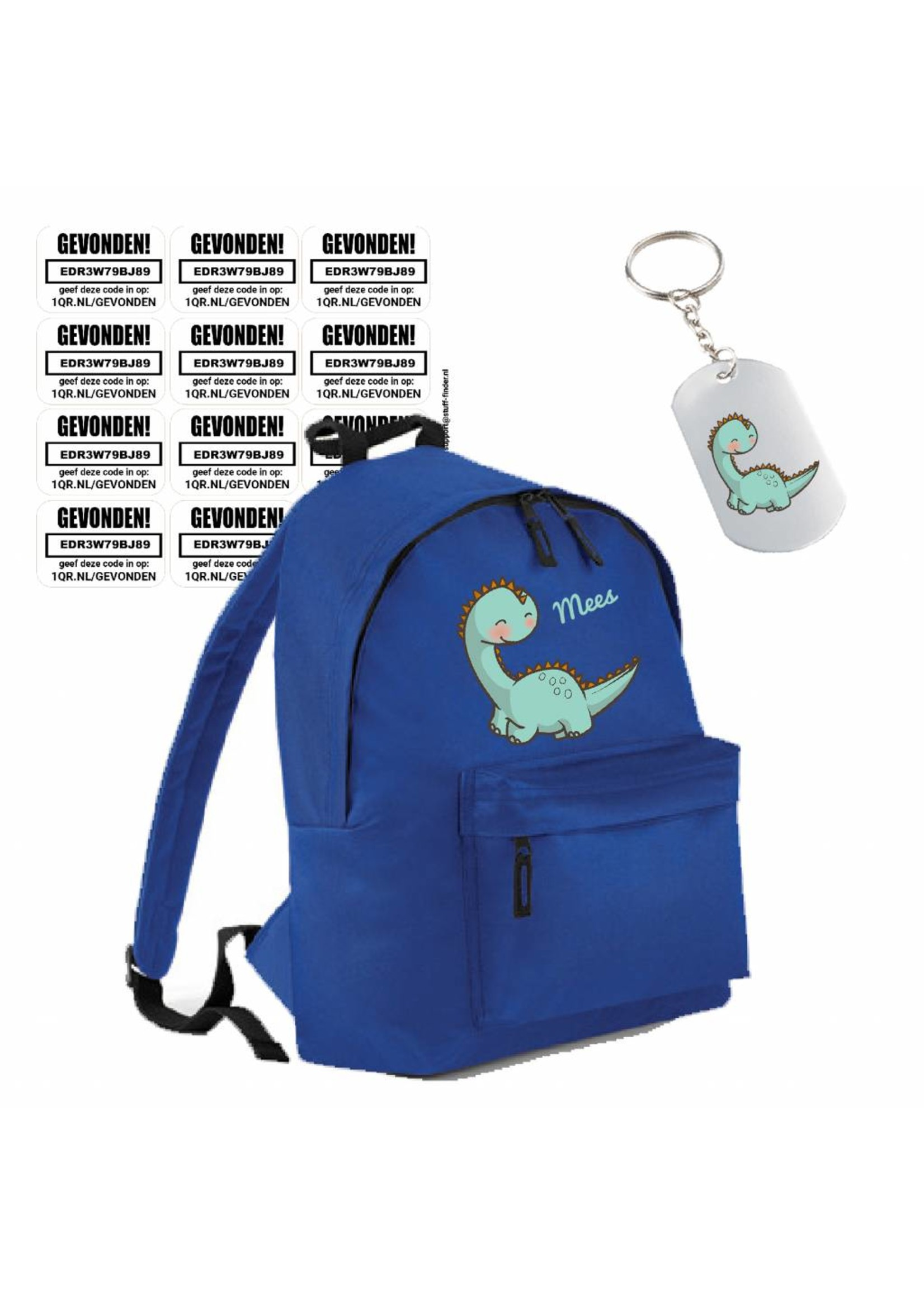 Dino rugzak met Stuff-Finder sleutelhanger en stickers